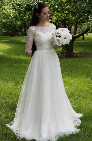 Half Sleeve Lace and Tulle Dress With Bateau Neckline and Illusion Back