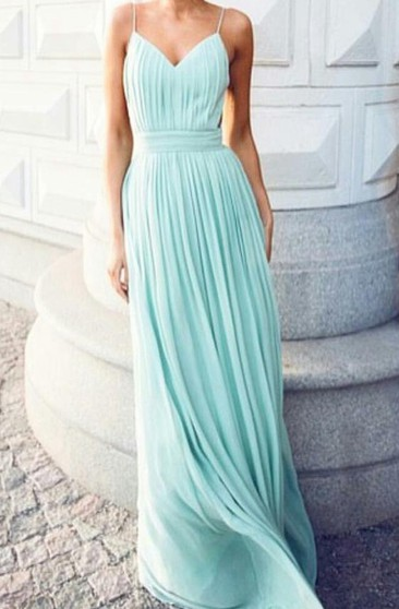 A-line Floor-length V-neck Spaghetti Straps Chiffon Dress