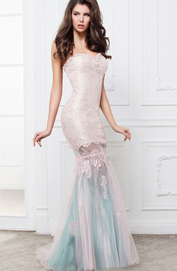 Mermaid Floor-Length Sweetheart Sleeveless Lace Pleats Beading Backless Dress