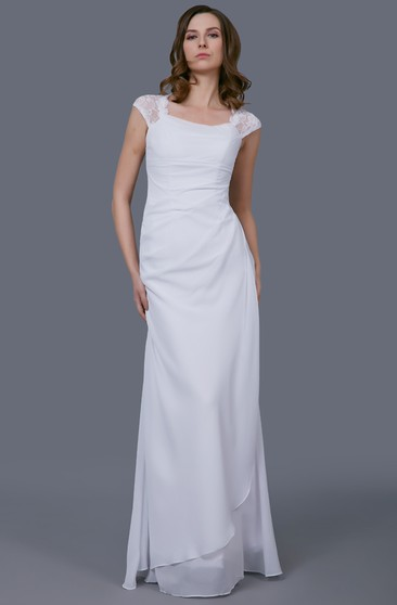Elegant Side-draped Wedding Gown With Lace Cap Sleeves