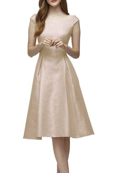 Bateau Neck Cap-sleeve A-line Bridesmaid Dress