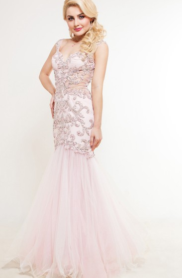 Mermaid Floor-Length Sweep V-Neck Short Sleeve Tulle Beading Lace Illusion Dress