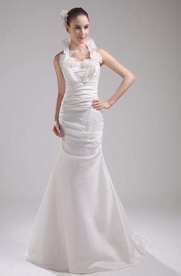 6fe400bd7e64 Sleeveless Mermaid Ruched Dress With Ruffled Neckline