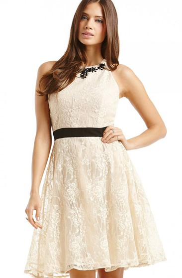 Lace Sleeveless Dess Short Dress With Satin Sash