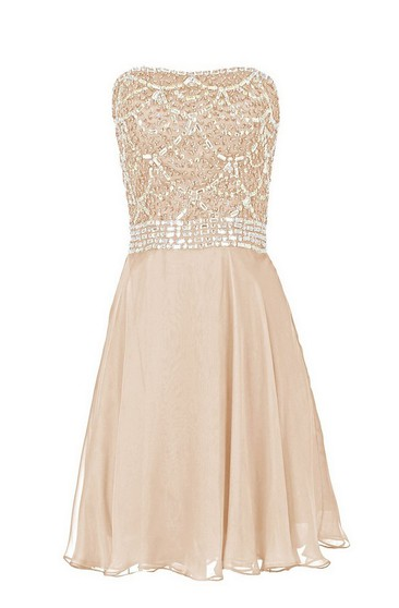 Strapless Short Dress With Crystal Bodice