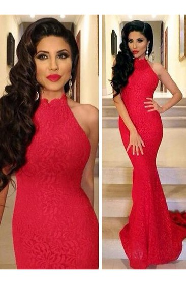 Lace Sexy Mermaid Prom Dress 2018 Red High-neck Sleeveless Evening Gowns