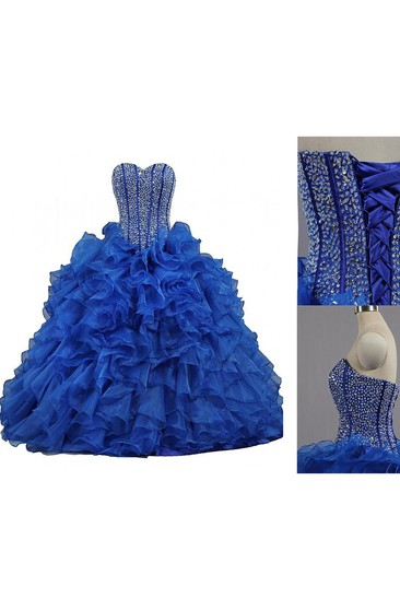 Ball Gown Long Sweetheart Bell Beading Ruffles Lace-Up Back Lace Organza Dress