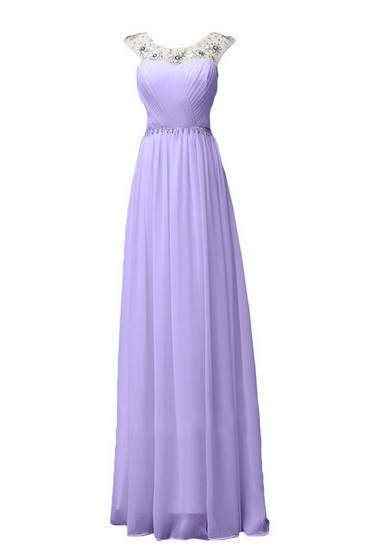Sleeveless Long Ruffled Chiffon Dress With Beaded Neck