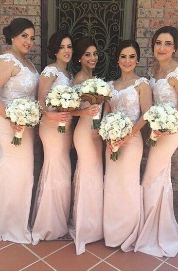 Light Color Bridesmaids Dresses Cream Pastel Bridesmaid