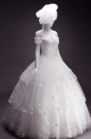 A-Line Ball Gown Trumpet Tea-Length Off-The-Shoulder Sweetheart Beading Tiers Flower Jacket Flower Chiffon Tulle Lace Sequins Organza Satin Dress