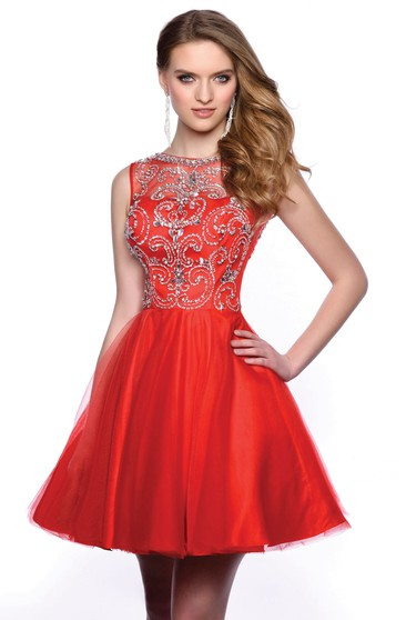 87a06b04205 A-Line Mini Scoop-Neck Sleeveless Tulle Keyhole Dress With Beading ...