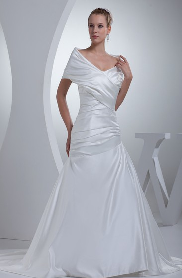 V Neck Satin A Line Ruched Court Train And Gown With Wrap Design