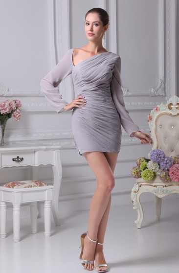 Asymmetrical Fitted Long-Sleeve Dress With Ruched Bodice