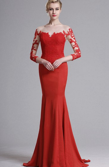 Mermaid Sweep Bateau 3 Jersey Appliques Lace Illusion Dress