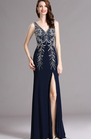 Sheath V-Neck Sleeveless Jersey Beading Split Front Low-V Back Dress