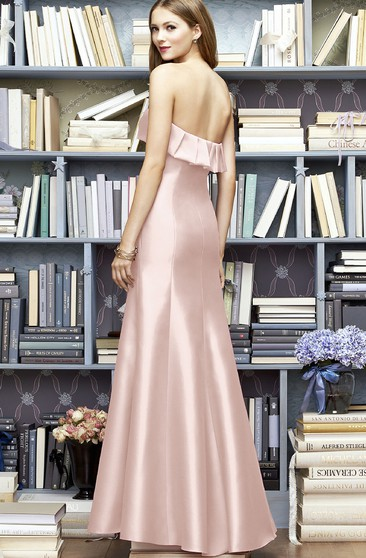 A-Line Satin Long Simple Sweetheart Dress