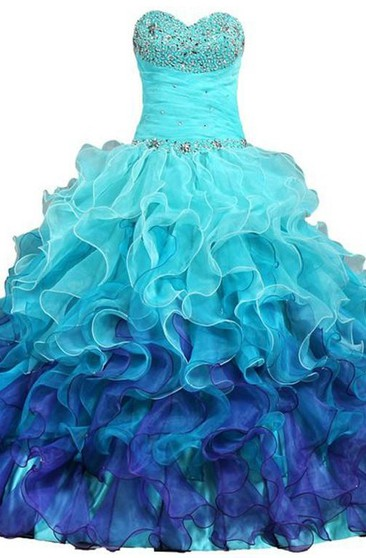 Ball Gown Maxi Sweetheart Sleeveless Bell Beading Cascading Ruffles Ruffles Lace-Up Back Lace Sequins Organza Dress
