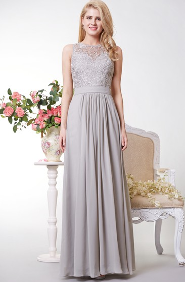 Tank Style A-line Chiffon Gown With Lace Bodice