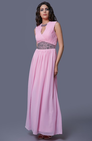 81d72880e9 V-Neck Beaded Sleeveless Chiffon Prom Dress With Ruching And Straps ...