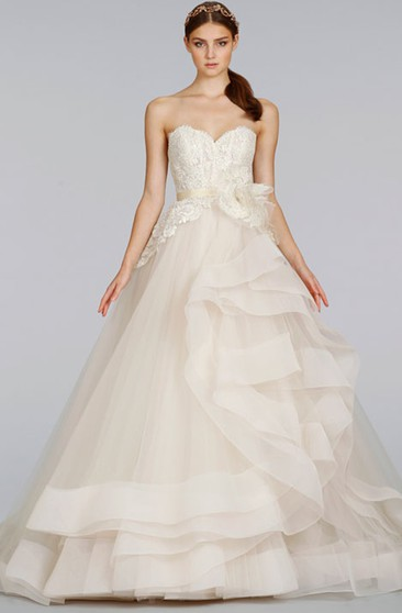 Angelic Sweetheart Lace Bodice Tulle Ball Gown With Peplum and Ribbon