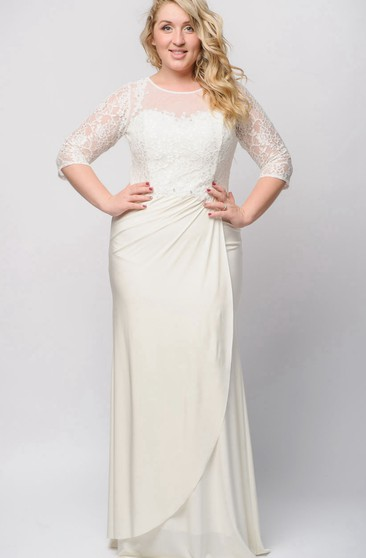 Sheath Floor-Length Jewel 3 Jersey Beading Lace Zipper Dress