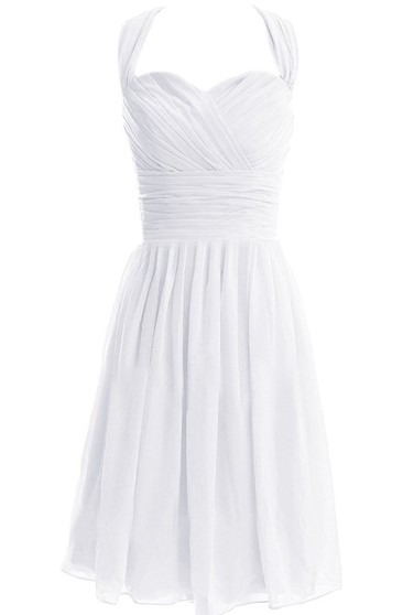 Sleeveless Asymmetrical Ruched Knee-length Pleated Chiffon Dress