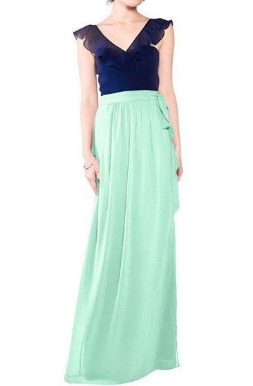 Falbala V-neck Chiffon Long Bridesmaid Dress