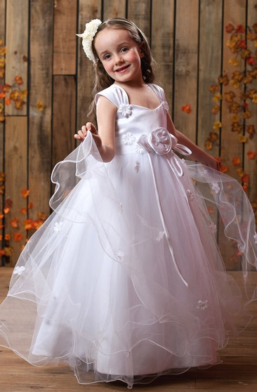 Lovely Ruched A-Line Flower Girl Dress With Tulle Overlay