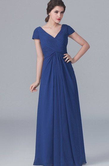 V-Neck Long A-Line Sleeves Dress With Pleatings