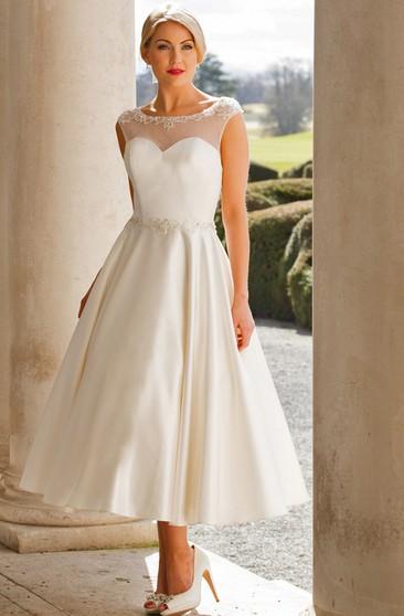 59060c5ee574 Tea-Length A-Line Cap Sleeve Bateau Neck Appliqued Satin Wedding Dress