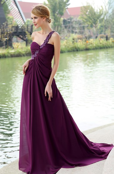 Chiffon Floor-Length Backless Dress With Floral Strap