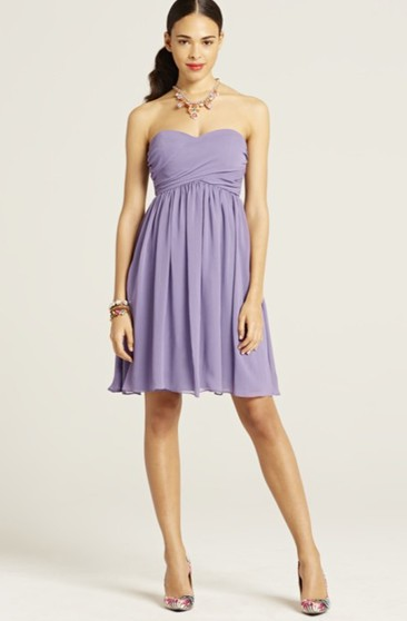 Sweetheart Short Chiffon Dress With Pleats And Ruching
