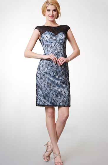 Stunning Short Cap Sleeve Lace Dress With Bateau Neck