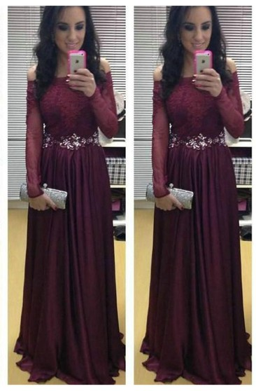 Stunning Long Sleeve Off-the-shoulder Evening Dresses 2018 Burgundy Lace Appliques Crystal