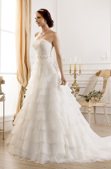 A-Line Long Strapless Sleeveless Lace-Up Organza Dress With Tiers And Flower