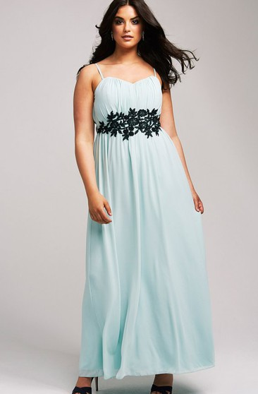 A-Line Straps Chiffon Gown With Embroidery Waist