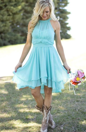 Empire Mini Scoop Sleeveless Pleats Chiffon Dress