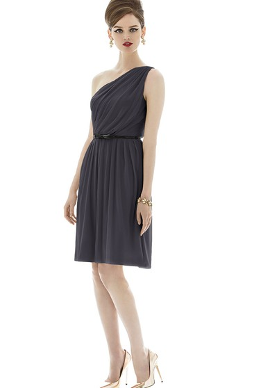 Refined Mini Sleeveless Ruched A-Line Chiffon Dress with One Shoulder and Bow Sash