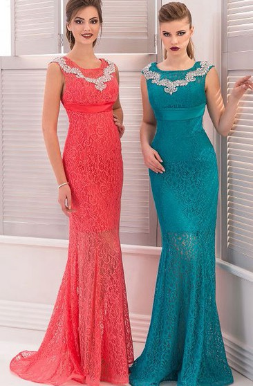 Mermaid Floor-Length Sweep High-Neck Short Sleeve Empire Lace Beading Pleats Zipper Dress
