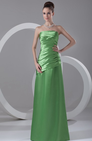 Strapless Floor-Length Satin Dress With Ruched Bodice