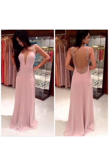A-line Straps Sleeveless Beading Floor-length Chiffon Dresses