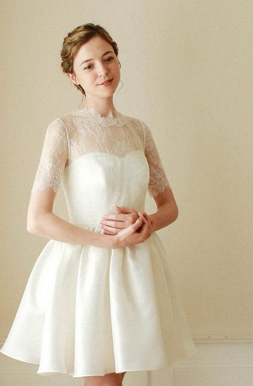 Short A-Line Lace-Bodice Satin Dress With Short Sleeves and High Neck