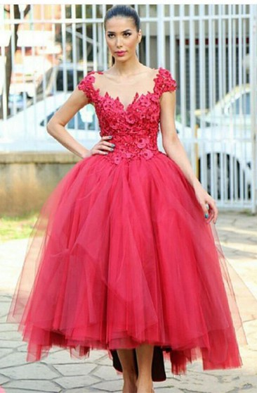 Newest Cap Sleeve Tulle Evening Dress Tea-length Lace Appliques