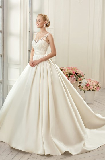 Ball Gown Long Scoop Sleeveless Deep-V-Back Satin Dress With Appliques