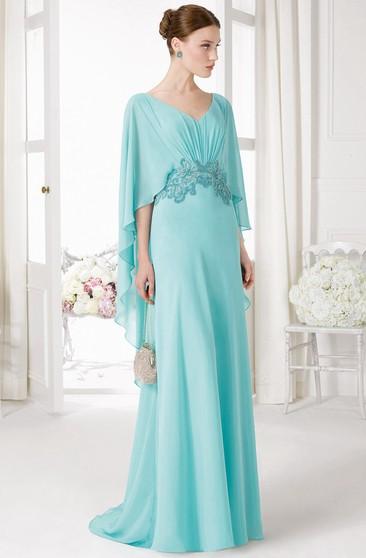 e933fa7714e8 V-Neck Poet Sleeve Beaded Chiffon Prom Dress With Ruching And Brush Train