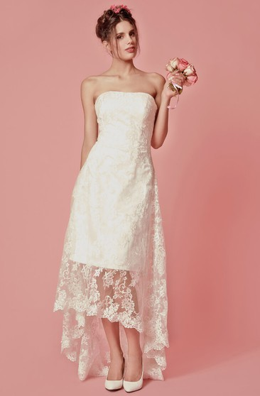 Elegant Sleeveless Strapless High-low Lace Wedding Dress
