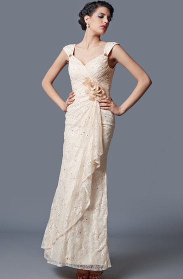 Glamorous Lace Embellished Long Gown With Ruching
