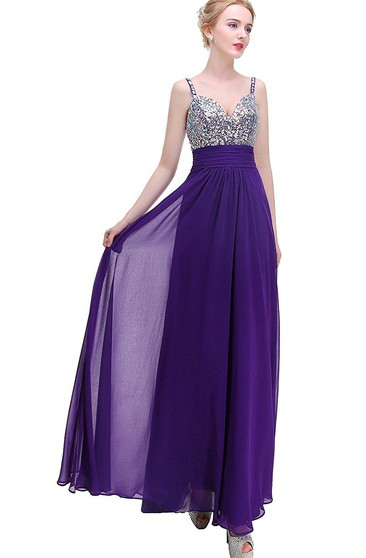 Sleeveless A-line Floor-length Dress with Sequins