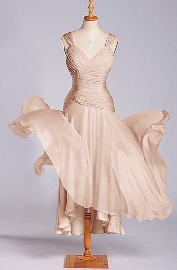 Sleeveless V-neck Tea-length Chiffon Dress with Ruching