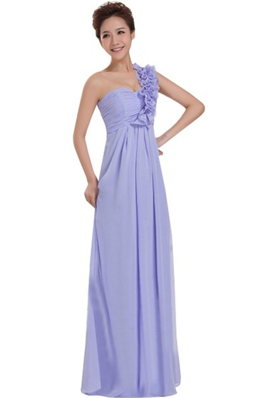 One-shoulder Long Chiffon Dress With Floral Strap